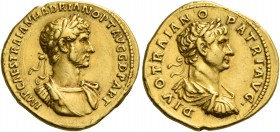 Hadrian augustus, 117 – 134. Aureus 117-118, AV 7.12 g. IMP CAES TRAIAN HADRIAN OPT AVG G D PART Laureate and cuirassed bust of Hadrian r. Rev. DIVO T...