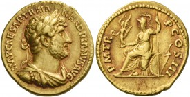 Aureus 119-122,  AV 7.45 g.  IMP CAESAR TRAIAN – HADRIANVS AVG  Laureate, draped and cuirassed bust r.  Rev. P M TR – P COS III  Roma helmeted seated ...