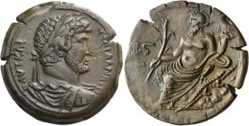 Hadrian augustus, 117 – 134. Drachm Alexandria 131-132, Æ 25.83 g. ΑΥΤ ΚΑΙ - ΤΡΑΙ ΑΔΡΙΑ СεΒ Laureate, draped, and cuirassed bust r. Rev. Nilus seated ...