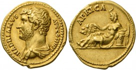 Hadrian augustus, 117 – 134. Aureus 134-138, AV 7.24 g. HADRIANVS AVG COS III P P Bare-headed and draped bust l. Rev. AFRICA Africa, wearing elephant-...