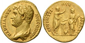 Hadrian augustus, 117 – 134. Aureus 134-138, AV 6.80 g. HADRIANVS – AVG COS III P P Bare-headed and draped bust l. Rev. ADVEN – TVI AVG – AFRICAE Hadr...