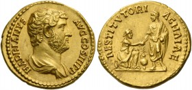 Hadrian augustus, 117 – 134. Aureus 136, AV 7.37 g. HADRIANVS – AVG COS III P P Bare-headed and draped bust r. Rev. RESTITVTORI – ACHAIAE Hadrian, tog...