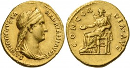 Sabina, wife of Hadrian. Aureus 129, AV 7.45 g. SABINA AVGVSTA – HADRIANI AVG P P Draped bust r., hair in stephane and in long tail at back. Rev. CONC...