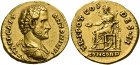 Antoninus Pius caesar, 138. Aureus 138, AV 7.19 g. IMP T AEL CAES – ANTONINVS Bare-headed, draped and cuirassed bust r. Rev. TRIB POT COS – DES·II Con...