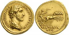 Antoninus Pius augustus, 138 – 161. Aureus 140-143, AV 6.95 g. ANTONINVS AVG – PIVS P P TR P COS III Bare-headed and draped bust r. Rev. VICTORIA / AV...