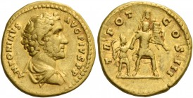 Antoninus Pius augustus, 138 – 161. Aureus 140-143, AV 7.12 g. ANTONINVS – AVG PIVS P P Bare-headed and draped bust r. Rev. TR POT – COS III Aeneas ad...