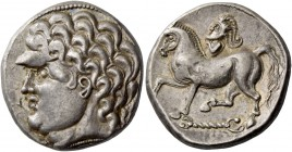 Eastern Celts, Danube region and Balkans. Kroisbach type variant tetradrachm circa 100-50, AR 12.49 g. Male head l. Rev. Horse pacing l. on torque; ab...
