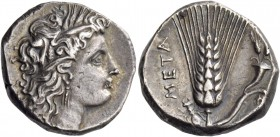 Metapontum. Nomos circa 290-280, AR 7.80 g. Head of Demeter r., wearing barley-wreath. Rev. Ear of barley with leaf to r., on which, cornucopiae. John...