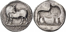 Sybaris. Nomos circa 550-510, AR 8.07 g. Bull standing l. on dotted exergual line, looking backwards. Rev. The same type incuse. SNG Copenhagen 1388. ...