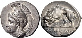 Velia. Nomos circa 350-310 or 334-310, AR 7.62 g. Helmeted head of Athena l., wearing Phrygian helmet decorated with a centauress; behind neck-guard, ...