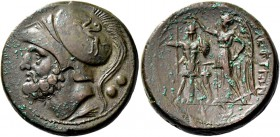 Bruttium, The Brettii. Double unit 214-211, Æ 16.28 g. Helmeted head of Ares l.; below, corn ear and behind, two pellets. Rev. Nike standing l., crown...