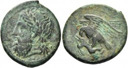 Sicily, Agrigentum. Bronze circa 338-287, Æ 5.28 g. Laureate head of Zeus l. Rev. Eagle l., with wings spread, perched on dead hare. Calciati 116. SNG...