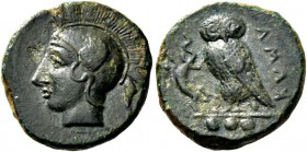 Camarina. Tetras circa 410-405, Æ 3.18 g. Helmeted head of Athena l. Rev. owl standing l., with closed wings, holding lizard in its talons; in exergue...