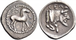 Gela. Litra circa 465-450, AR 0.76 g. Horse standing r., with bridle loose; in field above, wreath. Rev. Forepart of man-headed bull (the river-god Ge...