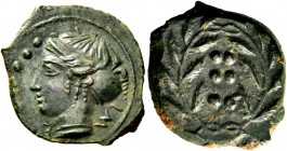 Himera. Hemilitra circa 410, Æ 2.72 g. Head of nymph l.; in l. field, six pellets. Rev. Six pellets within wreath. SNG ANS 186. Calciati 35. Untouched...