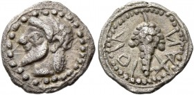 Naxos. Litra circa 550-530, AR 0.84 g. Bearded and ivy wreathed of Dionysus l. Rev. Bunch of grapes. SNG Lockett 839. Campana 2 (this coin listed). Ca...