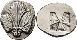Selinus. Didrachm circa 540-515, AR 8.71g. Selinon leaf; above, two pellets. At base of stem, two pellets in the design of the eyes of a facing panthe...