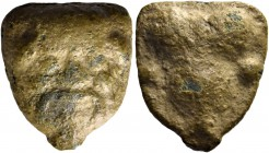 Selinus. Hexas circa 443-415, Æ 5.64 g. Head of of Silenus facing. Rev. Selinon leaf; around, two pellets. SNG Morcom 688. Calciati 9. Brownish-green ...