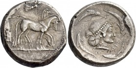 Syracuse. Tetradrachm circa 480-475, AR 17.07 g. Slow quadriga driven r. by charioteer holding kentron and reins; above, Nike flying r. to crown the h...
