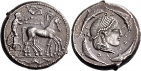 Syracuse. Tetradrachm circa 470-466, AR 17.13 g. Slow quadriga driven r. by charioteer holding reins and kentron; above, Nike flying l. to crown him. ...