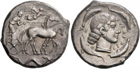Syracuse. Tetradrachm circa 470-466, AR 16.82 g. Slow quadriga driven r. by charioteer, holding kentron and reins; above, Nike flying r. to crown hors...