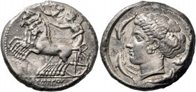Syracuse. Tetradrachm signed by Eumenos and Eukleidas circa 415-410, AR 16.41 g. Prancing quadriga driven l. by clean-shaven charioteer, wearing long ...