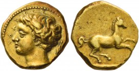 Syracuse. 50 litrae or Decadrachm circa 400, AV 2.86 g. ΣYPA Young male head l.; behind, barley-grain. Rev. Unbridled horse prancing r.; below, rectan...