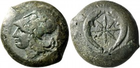 Syracuse. Drachm circa 375-345, Æ 25.69 g. Head of Athena l., wearing Corinthian helmet decorated with olive-wreath. Rev. Pair of dolphins swimming do...