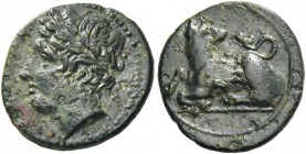 Syracuse. Bronze circa 317-289, Æ 1.98 g. Laureate head of Apollo l. Rev. Dog seated l., head reverted. AMB 506 (this coin). SNG ANS 744. SNG Copenhag...