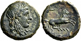 Syracuse. Bronze 287-278, Æ 11.08 g. Head of Kore-Persephone r., wearing barley-wreath. Rev. Prancing biga driven r. by charioteer, holding kentron an...