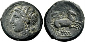 Syracuse. Bronze 287-278, Æ 10.06 g. Head of Kore-Persephone l., wearing barley-wreath. Rev. Prancing biga driven r. by charioteer, holding kentron an...