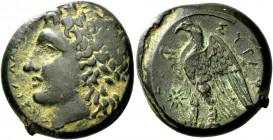 Syracuse. Bronze 287-278, Æ 11.63 g. Laureate head of young Zeus l. Rev. Eagle standing l. on thunderbolt; in l. field, star. SNG ANS 810. Calciati 15...