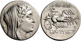 Syracuse. 16 litrae circa 218-215, AR 14.05 g. Veiled and diademed head of Philistis r.; behind, ear of barley. Rev. Slow quadriga driven r. by Nike, ...