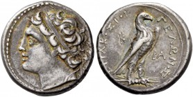 Syracuse. 4 Litrae circa 218/7-215, AR 3.39g. Diademed head l. Rev. Εagle on thunderbolt. CCO 288. SNG Fitzwilliam 1411 (these dies). Wonderful irides...