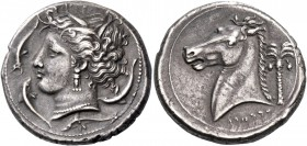 The Carthaginians in Sicily and North Africa. Tetradrachm, Sicily circa 320-300, AR 16.78 g. Head of Tanit-Persephone l., wearing barley wreath, tripl...