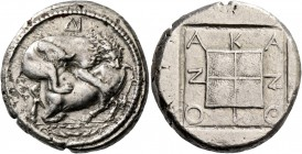 Macedonia, Acanthus. Tetradrachm circa 480-424, AR 16.72 g. Bull with head raised, crouching to l. attacked by lion leaping on its back to r.; in fiel...