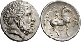 Kings of Macedonia, Philip II 359 – 336 and posthumous issues. Tetradrachm, Pella circa 323-315 BC, AR 14.34 g. Laureate head of Zeus r. Rev. Horseman...