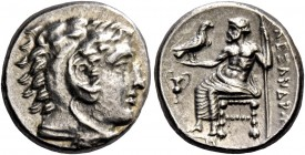 Alexander III, 336 – 323 and posthumous issues. Drachm, Sardes circa 334-323, AR 4.31 g. Head of Heracles r., wearing lion skin headdress. Rev. Zeus s...