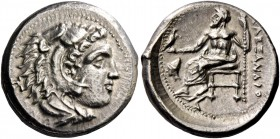 Alexander III, 336 – 323 and posthumous issues. Drachm, Sardes circa 334-323, AR 4.30 g. Head of Heracles r., wearing lion skin headdress. Rev. Zeus s...