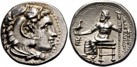 Alexander III, 336 – 323 and posthumous issues. Drachm, Sardes circa 334-323, AR 4.28 g. Head of Heracles r., wearing lion skin headdress. Rev. Zeus s...