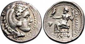 Alexander III, 336 – 323 and posthumous issues. Drachm, Sardes circa 334-323, AR 4.24 g. Head of Heracles r., wearing lion skin headdress. Rev. Zeus s...