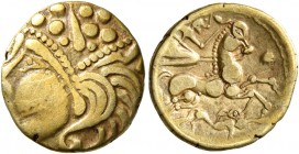 CELTIC, Northwest Gaul. Aulerci Eburovices. Late 2nd to first half of 1st century BC. Quarter Stater (Gold, 13 mm, 1.72 g, 11 h), 'au loup' type. Celt...