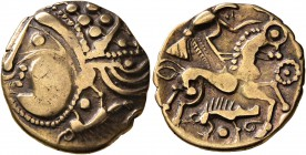 CELTIC, Northwest Gaul. Aulerci Eburovices. Late 2nd to first half of 1st century BC. Half Stater (Electrum, 18 mm, 3.13 g, 12 h), 'au sanglier' type....