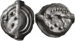 CELTIC, Northwest Gaul. Aulerci Eburovices. Circa 50-30 BC. Cast unit (Potin, 19 mm, 4.10 g, 9 h). Stylized male head to left, with four pellets formi...