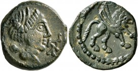 CELTIC, Northwest Gaul. Carnutes. Circa 50-30 BC. AE (Bronze, 16 mm, 2.96 g, 12 h), 'à la légende CATAL' type. Diademed and draped bust to right; befo...