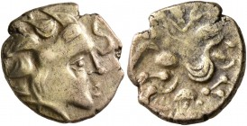 CELTIC, Northwest Gaul. Namnetes. Late 2nd to mid 1st century BC. Quarter Stater (Electrum, 12 mm, 1.78 g, 2 h), 'a l'hippophore' type. Celticized hea...