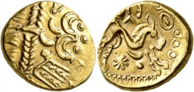 CELTIC, Northeast Gaul. Ambiani. Late 2nd to mid 1st century BC. Stater (Gold, 19 mm, 6.19 g, 12 h), 'statère biface au flan court' type. Devolved and...