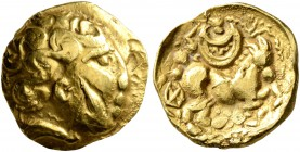 CELTIC, Northeast Gaul. Atrebates. 3rd to early 2nd century BC. Quarter Stater (Gold, 12 mm, 2.05 g, 7 h), 'au croissant' type. Male head with curley ...