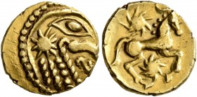 CELTIC, Northeast Gaul. Bellovaci. Circa 60-30/25 BC. Quarter Stater (Gold, 12 mm, 1.48 g, 6 h), 'à l'astre' type. Devolved and disjointed male head t...