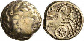 CELTIC, Central Gaul. Aedui. Late 2nd to first half of 1st century BC. Stater (Electrum, 17 mm, 7.00 g, 11 h), 'à la roue' type. Celticized male head ...